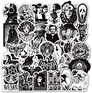 Halloween Sticker Gothic Stickers for Water Bottle Waterproof Vinyl Stickers for Laptop Phone Cool Punk Sticker Horror Black and White Sticker for Guitar Skateboard Luggage Decal Sticker (50Pcs)
