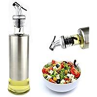 Vertedor de Aceite - Botella Dispensadora de Aceite y Vinagre Premium - Botella de vidrio y acero inoxidable elegante…
