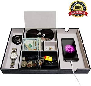 SUKKMORI Valet Tray Nightstand Organizer - Dresser Tray for Men and Women - EDC PU Leather Box for a Watch, Jewelry, Coin and Key - Bedside and Desk Phone Charging Station - Ring and Wallet Organizers