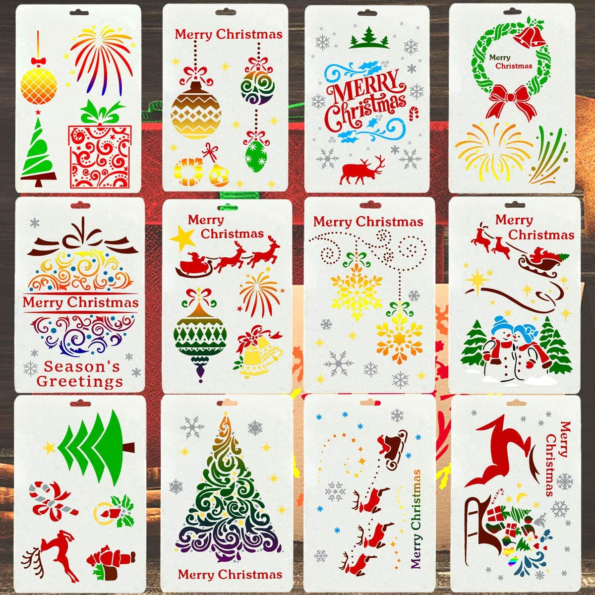 12 PCS Christmas Stencils for Painting on Wood, Reusable Merry Christmas Floor Tile Stencil for Christmas Decor Fabric Canvas Wall Painting, Window Spraying, Home Decor DIY-Painting Templates