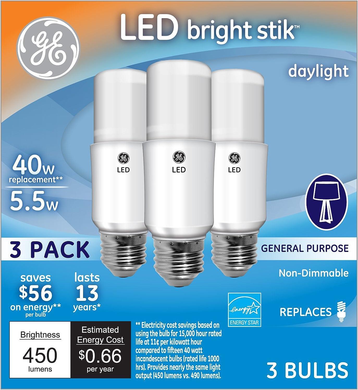 3-Pack GE Lighting 63551 LED Brightstik 5.5-watt 40-watt Replacement 450-Lumen Light Bulb with Medium Base Soft White