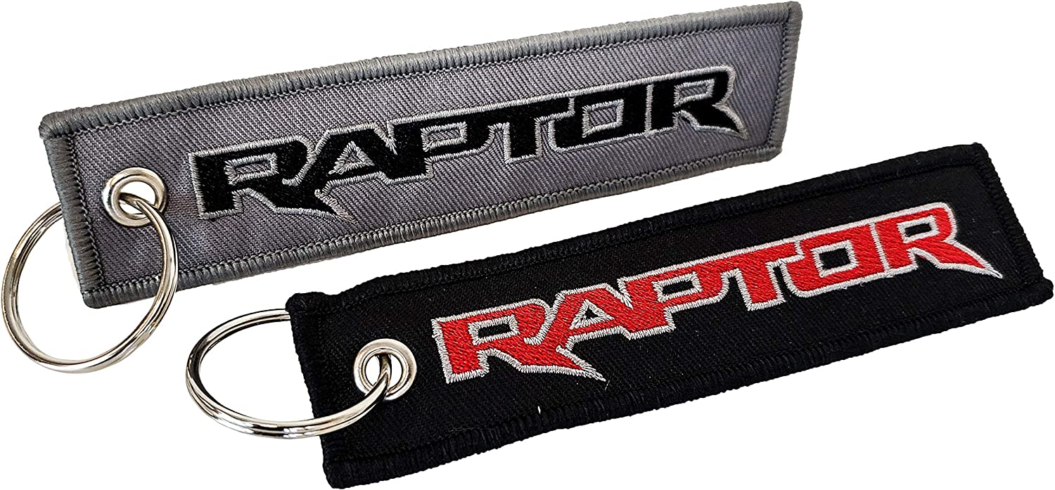 OZ-USA 2X Embroidered Raptor Key Chain Accessory Crew Tag Key Ring Lock Black Red Font /& Charcoal Gray