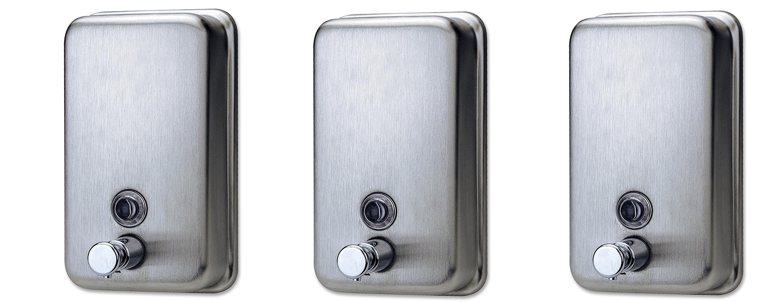 Genuine Joe GJO02201 Stainless Steel Manual Soap Dispenser, 31.5 fl oz Capacity (Pack of 3)