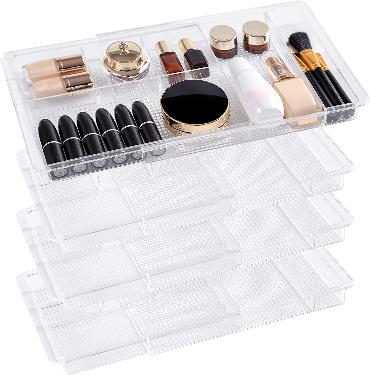 Amazon Com Oubonun Expandable Drawer Organizer 11 1 To 19 2 Width Shallow Cosmetic Organizer 1 3 Height 4 Packs Clear Plastic Storage Trays With 7 Compartments For Dressing Table Bathroom And Office Desk Home Improvement