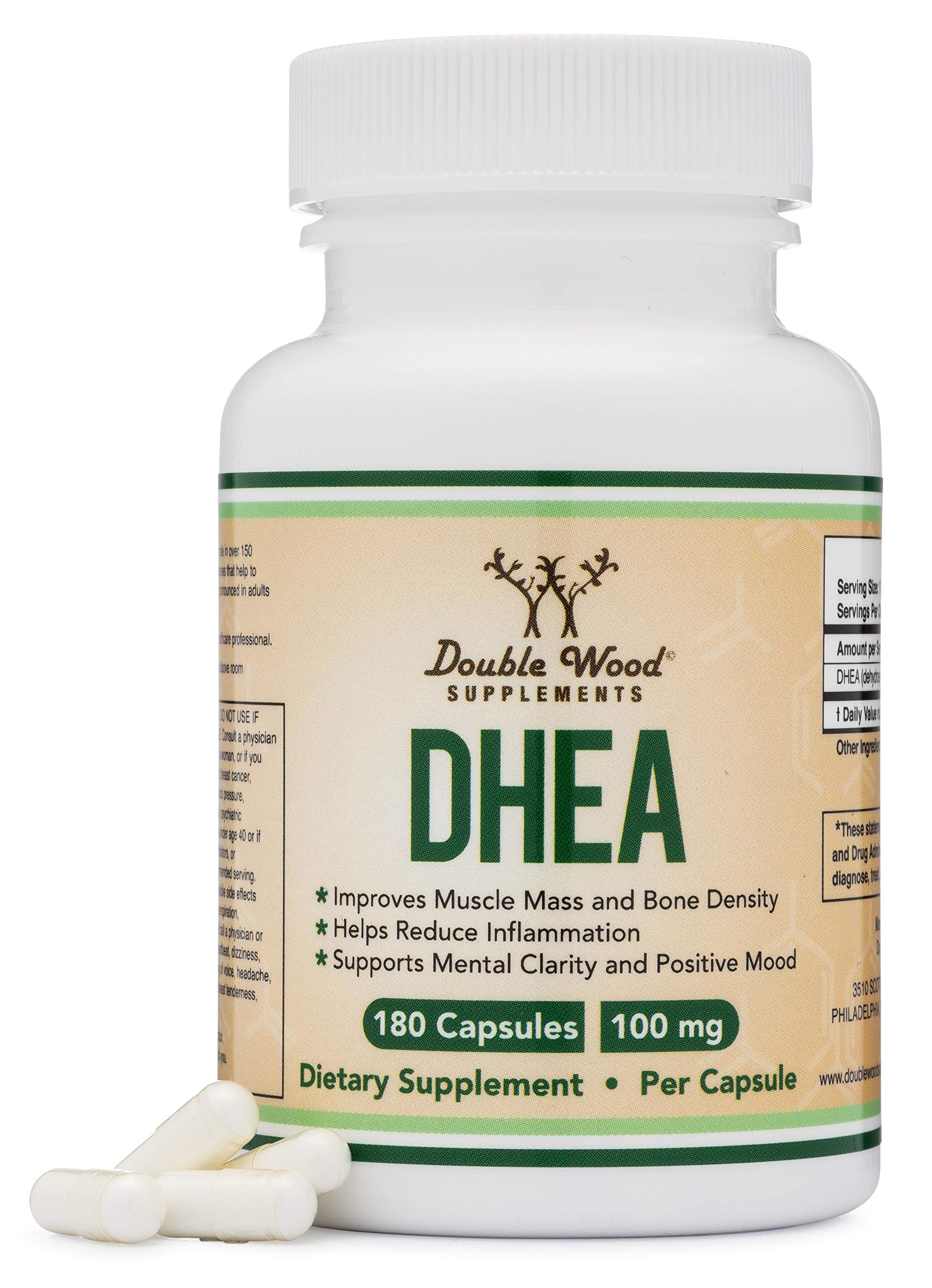 DHEA 100mg – 180 Capsules -Third Party Tested, Made in The USA (Max Strength, 6 Month Supply) Hormone Balance for Women and Men, Supports Healthy Libido by Double Wood Supplements