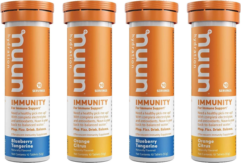 Nuun Immunity: Immune Support Hydration Supplement, Electrolytes, Antioxidants, Vitamin C, Zinc, Turmeric, Elderberry, Ginger, Echinacea - Blueberry Tangerine + Orange Citrus - 4 Tubes (40 Servings): Health & Personal Care
