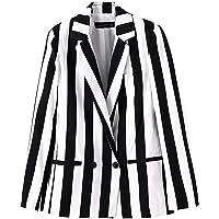 Springfavor Beetlejuice Costume Black and White Striped Causal Blazer Jacket