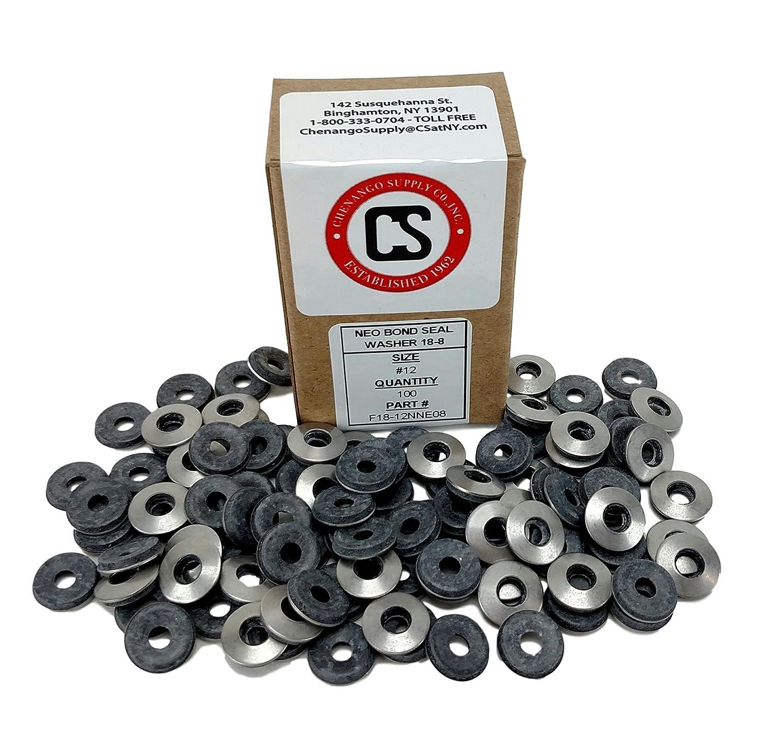 #12 Neoprene EPDM Bonded Sealing Washers Stainless Steel 18-8, Neo Bond, 100 Pieces (#12 Neobond Washer 18-8) 818xaui4hxL