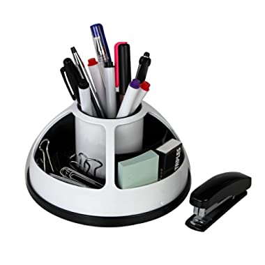 Rotating Office Supplies Desk Organizer Caddy – Plastic – Black and White by O-Life