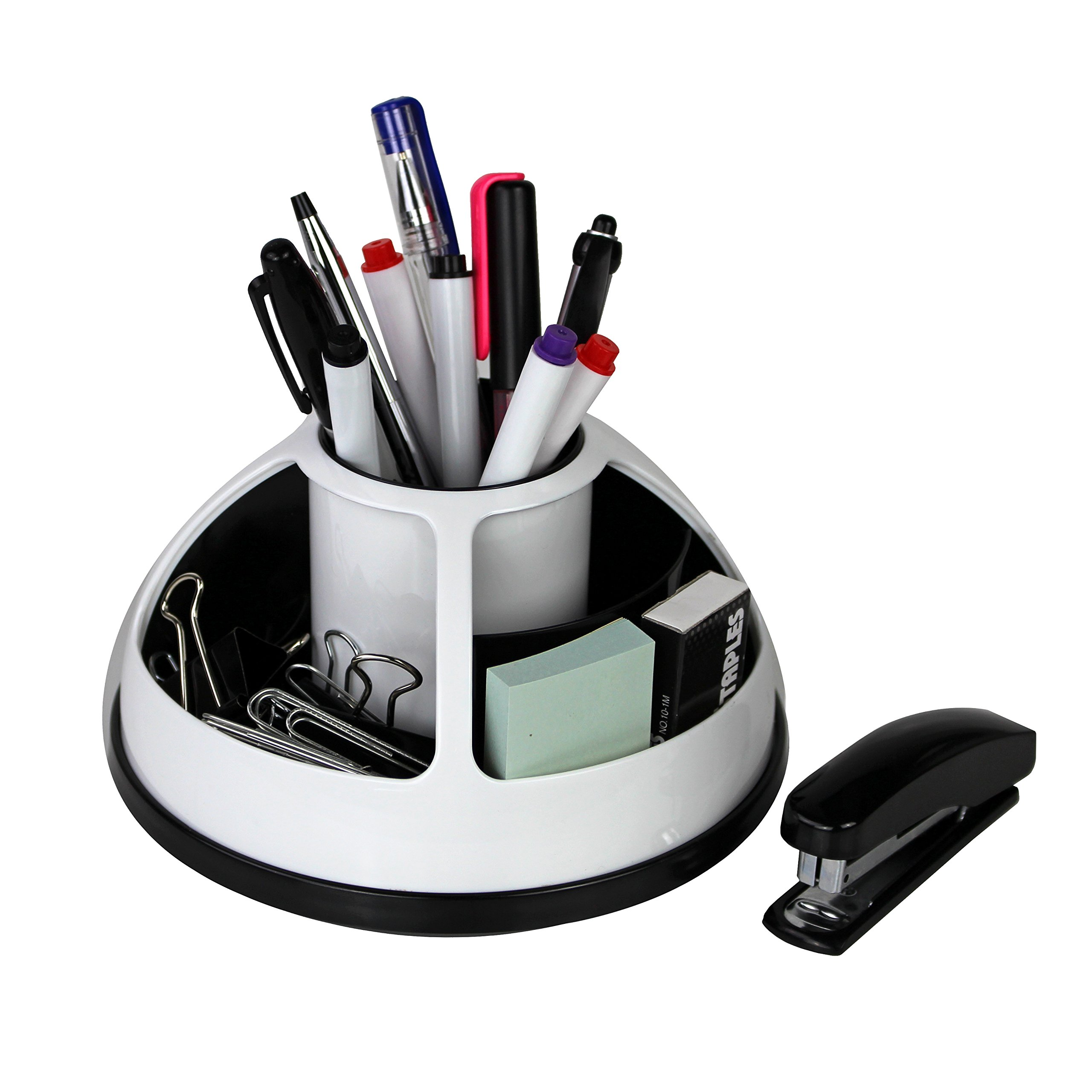Rotating Office Supplies Desk Organizer Caddy – Plastic – Black and White by O-Life …