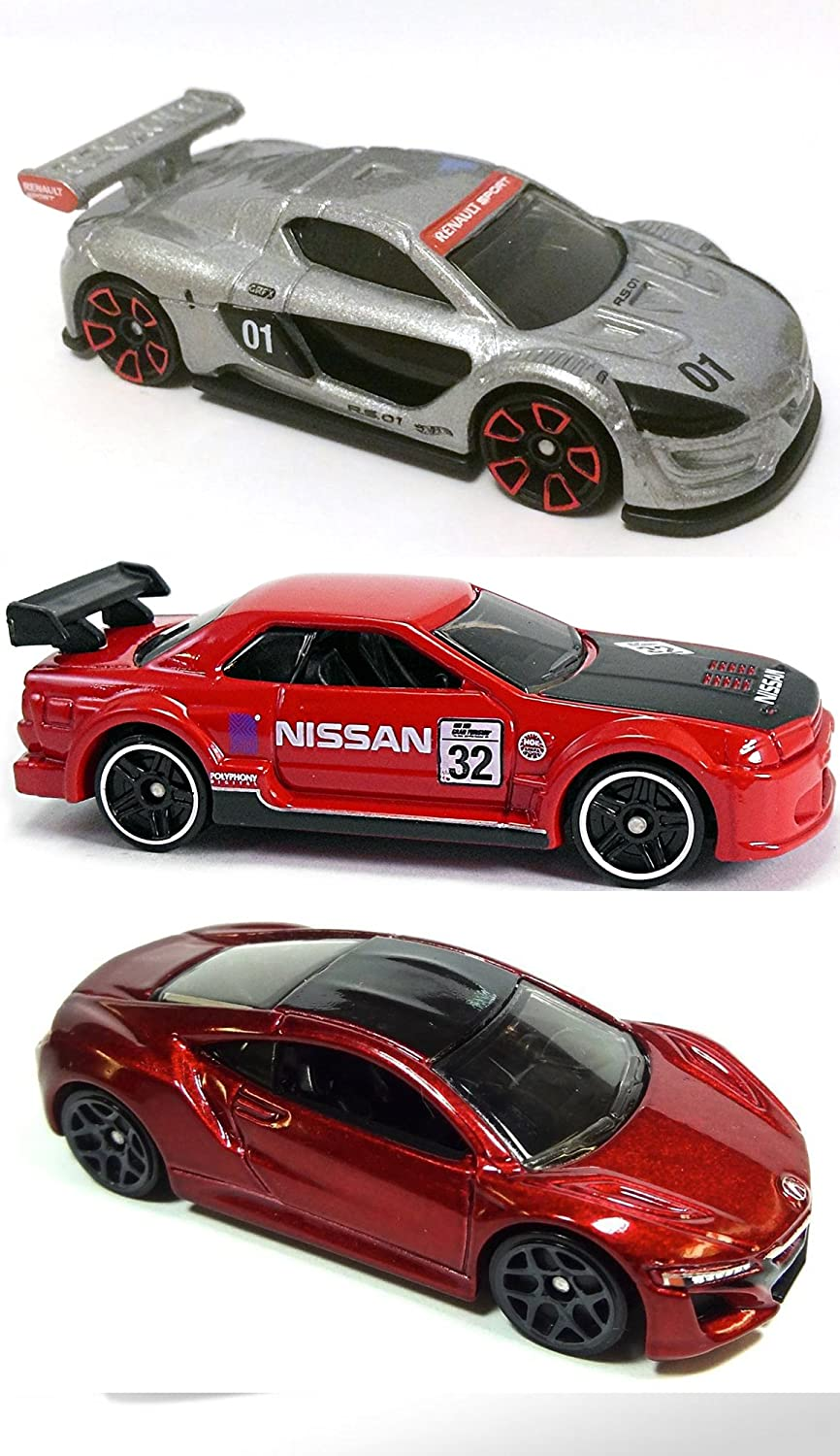 Amazon.com: Hot Wheels Gran Turismo Exclusive Nissan Skyline GT-R + 2017 Acura NSX & Renault Sport R.S. 01 Silver HW Exotics + Then & Now cars in PROTECTIVE ...