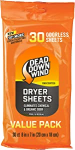 Dead Down Wind Dryer Sheets | Odor Eliminator for Hunting Gear + Hunting Accessories | Anti-Static, Biodegradable Unscented Sheets | 1 Resealable Package