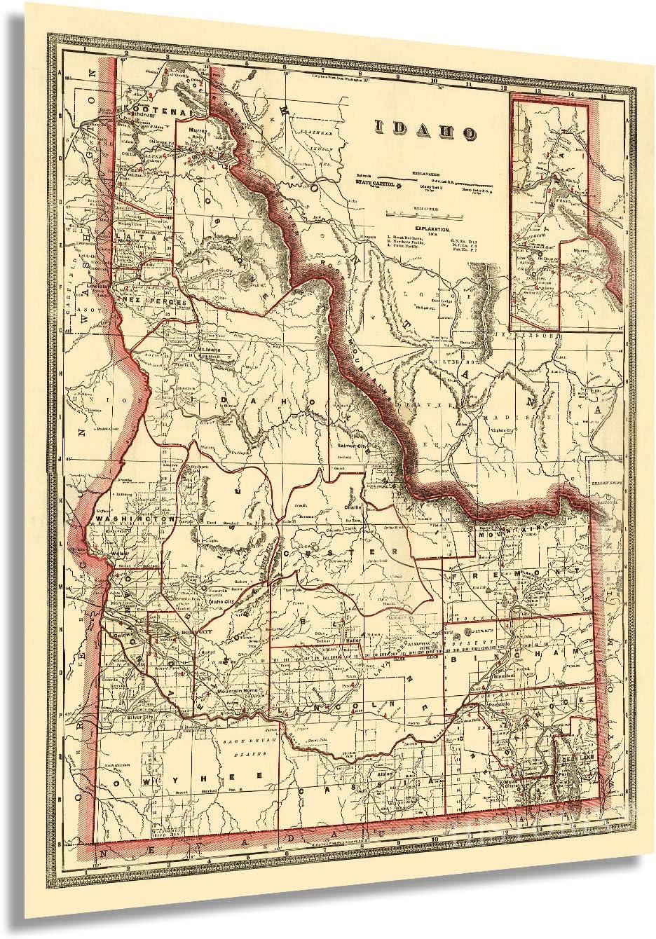 HISTORIX Vintage 1896 Idaho State Map - 24x30 Inch Vintage Map of Idaho Wall Art - Old Township County and Railroad Map of Idaho Poster - Map Idaho Wall Decor - Historic Idaho Wall Map (2 Sizes)