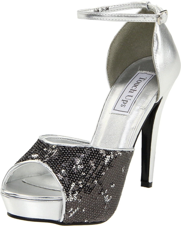 Women's Debbie Silver Sequin Peep Toe Ankle-Strap High-Heel Pump - DeluxeAdultCostumes.com