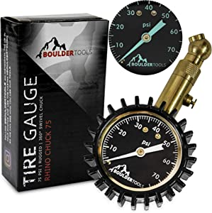 """Boulder Tools Heavy Duty Tire Pressure Gauge - 75 PSI - Certified ANSI Accurate tire Gauge, Large Easy Read HD 2"""" Glow dial, Solid Brass Bourdon Tube Style air Pressure Gauge for Car, Truck, Jeep"""