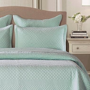 Calla Angel CASPCTSLQ_STFT Saint Fountain Luxury Pure Cotton Quilted Pillow Sham, 26  x 20 , Light Aqua, Standard, Straight Edge