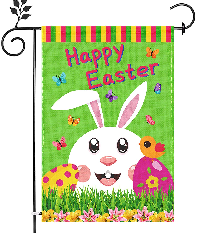 Funnlot Easter Garden Flag For Outside 12x18 Double Sided Cute Bunny Easter Yard Flags Burlap Happy Easter Garden Flag Small Easter Egg Decor For Outdoor Lawn Tulip Flower Wreath Seasonal Flag