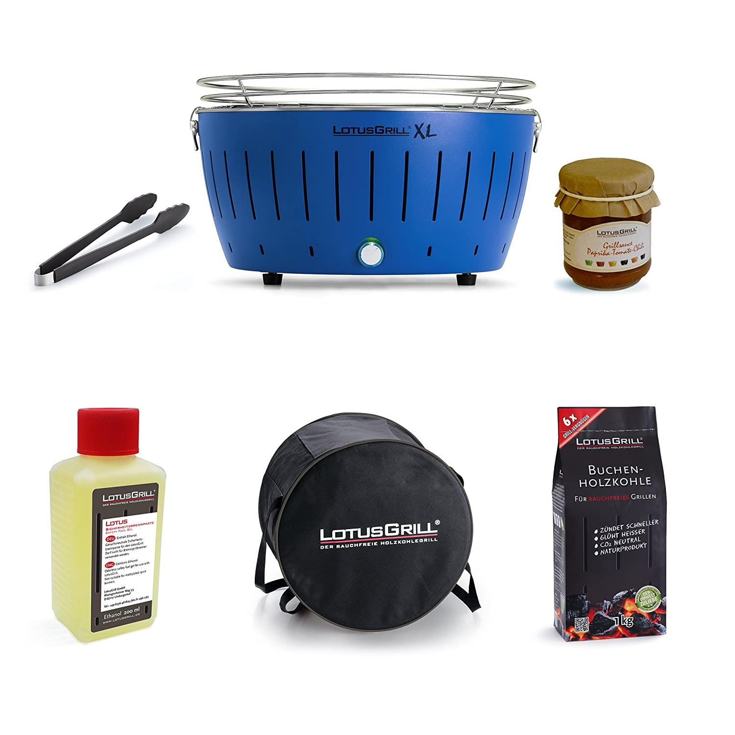 LotusGrill XL Starter Kit 1x LotusGrill XL Blue 1x 1Lighting Gel 200ml, 1Lotus Grill Beech Charcoal 2.5kg Tongs Blue, 1X Sauce Special Lotus Grill, 1X Carry Bag, Smoke-Free Charcoal Tabletop Grill Only Latest Technology. (Blue)