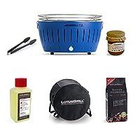 Lotusgrill Lotusgrill blau kleiner Edelstahl Stahl Kunststoff BBQ-Lotus Balkon Camping Picknick ✔ rund ✔ tragbar rauchfrei ✔ Grillen mit Holzkohle ✔ für den Tisch