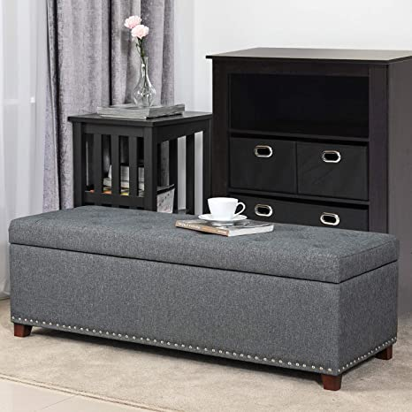 Magnificent Amazon Com Edeco Rectangular Storage Ottoman Bench Pabps2019 Chair Design Images Pabps2019Com