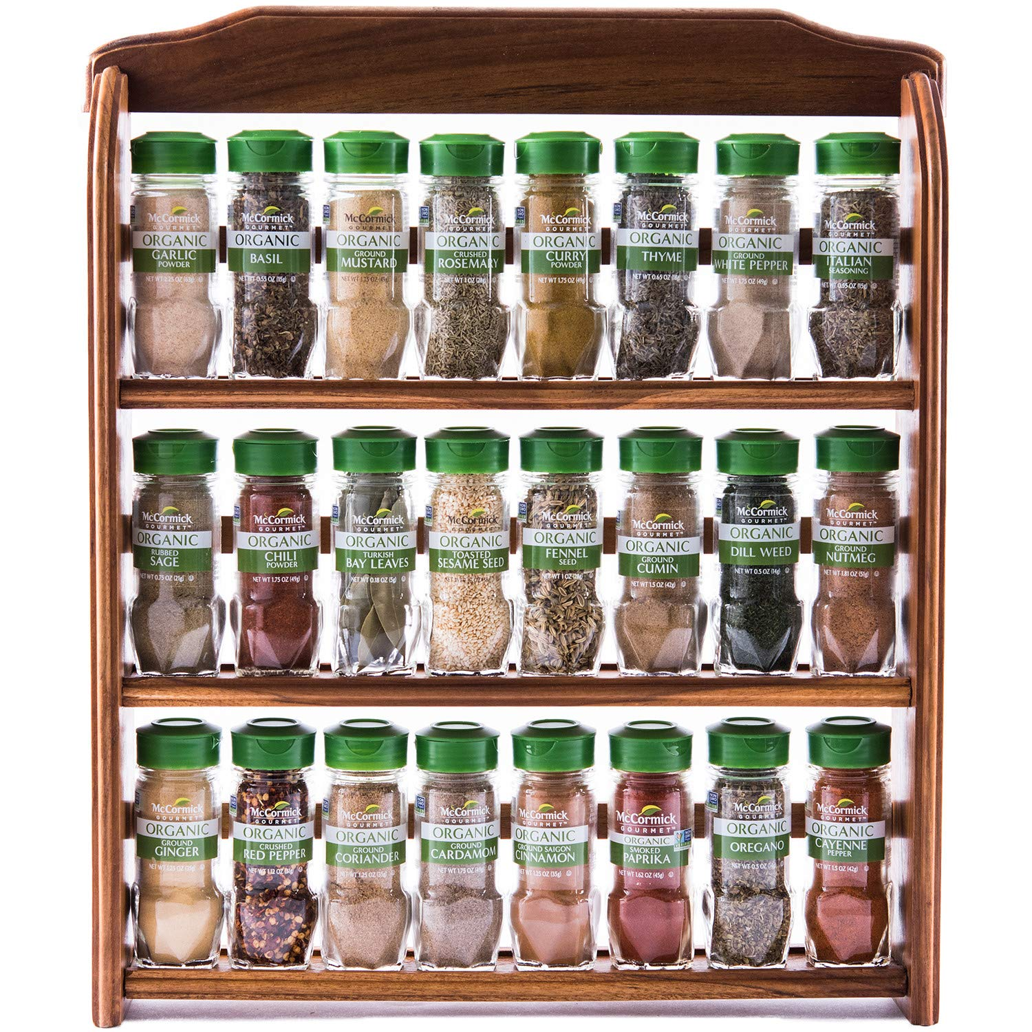 McCormick GourmetThree Tier Wood 24 Piece Organic Spice Rack (Spices Included, 3 Spice Rack Shelves, 24 Herbs & Spices), 27.6 oz