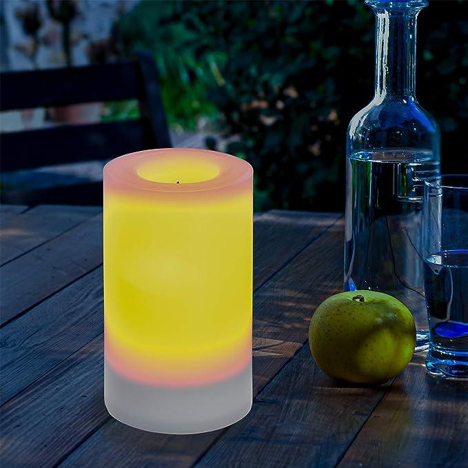 unsichtbar integriertes Solarmodul Party Kerzenlicht Solarleuchte esotec 102231 75 x 100 mm Flammenlose Solar LED-Kerze f/ür Outdoor - D x H gelbe LED mit Flackerlicht