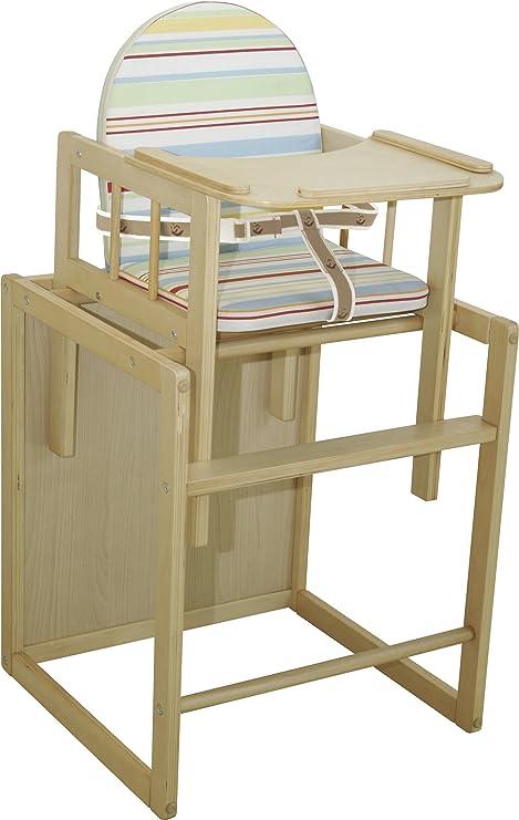Trona Combi roba trona con bandeja transformable en silla y mesa independientes asiento tapizado en dise/ño Babyowls trona infantil en madera natural