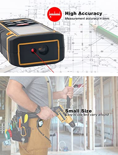 Hti-Xintai Laser Distance Meter, Handheld 196 Foot Laser Measuring of Distance, Area, Volume-Digital Laser Ruler with Mute Function, Portable and LCD Display with Bubble Level
