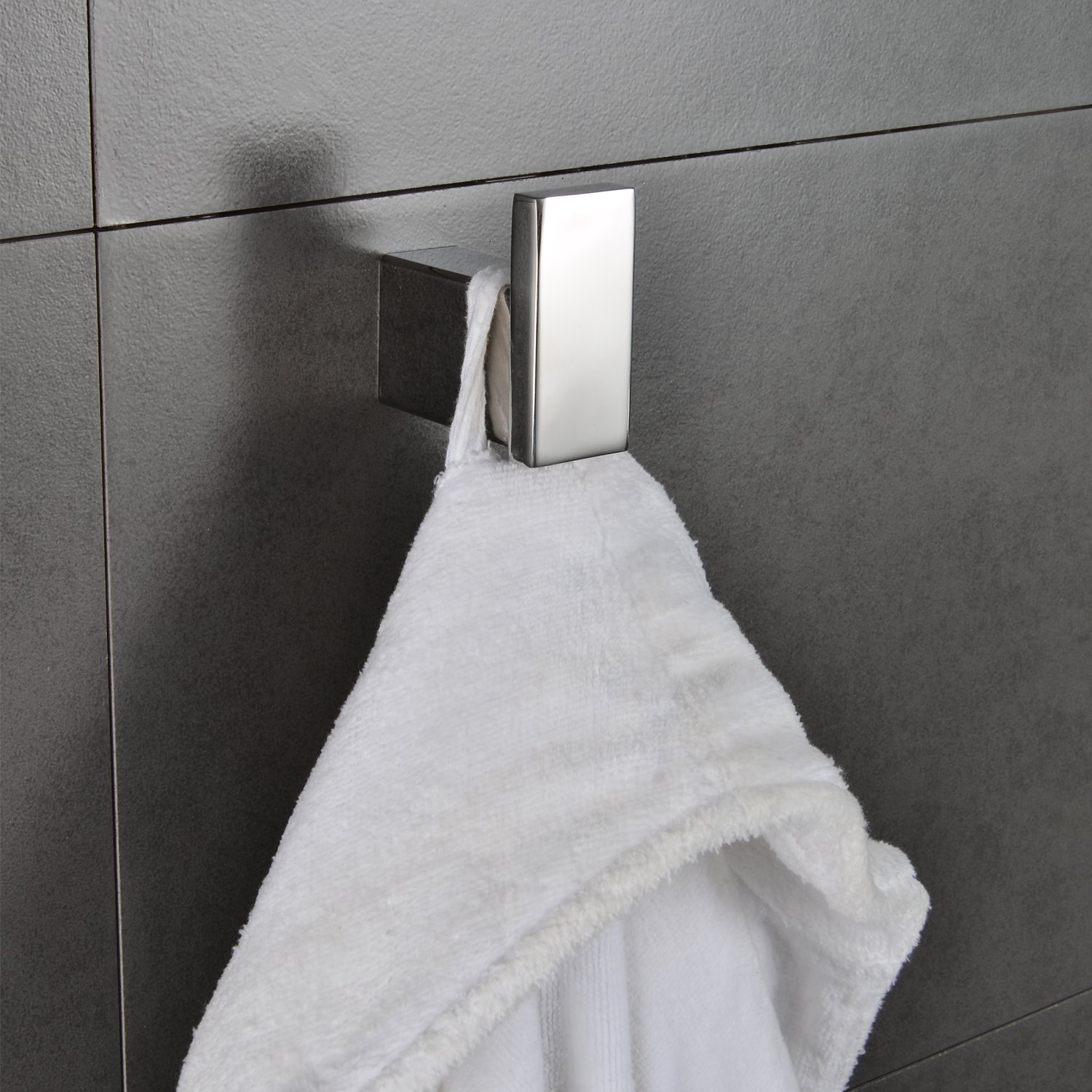 Single Robe Hook Stainless Steel Bathroom Towel Kitchen Hanger Large Square Heavy Duty Modern Bath Towel & Clothes Holder Bath Hardware Wall Mount Polished Chrome MARMOLUX ACC by Marmolux Acc