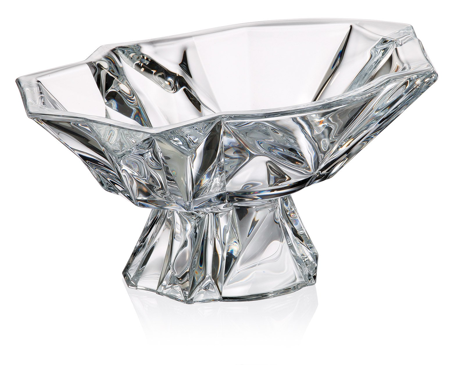 Bohemia Crystal Large Footed Bowl ''Angle'', 13'' Dia Decorative Crystal Deep Wedding Gift Bowl on a Stem, Elegant Centerpiece Candies Fruit Bowl + Special Gift Figurine
