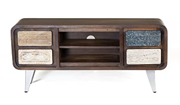 the wood times meuble tv bas meubles massif style vintage en bois de manguier massif