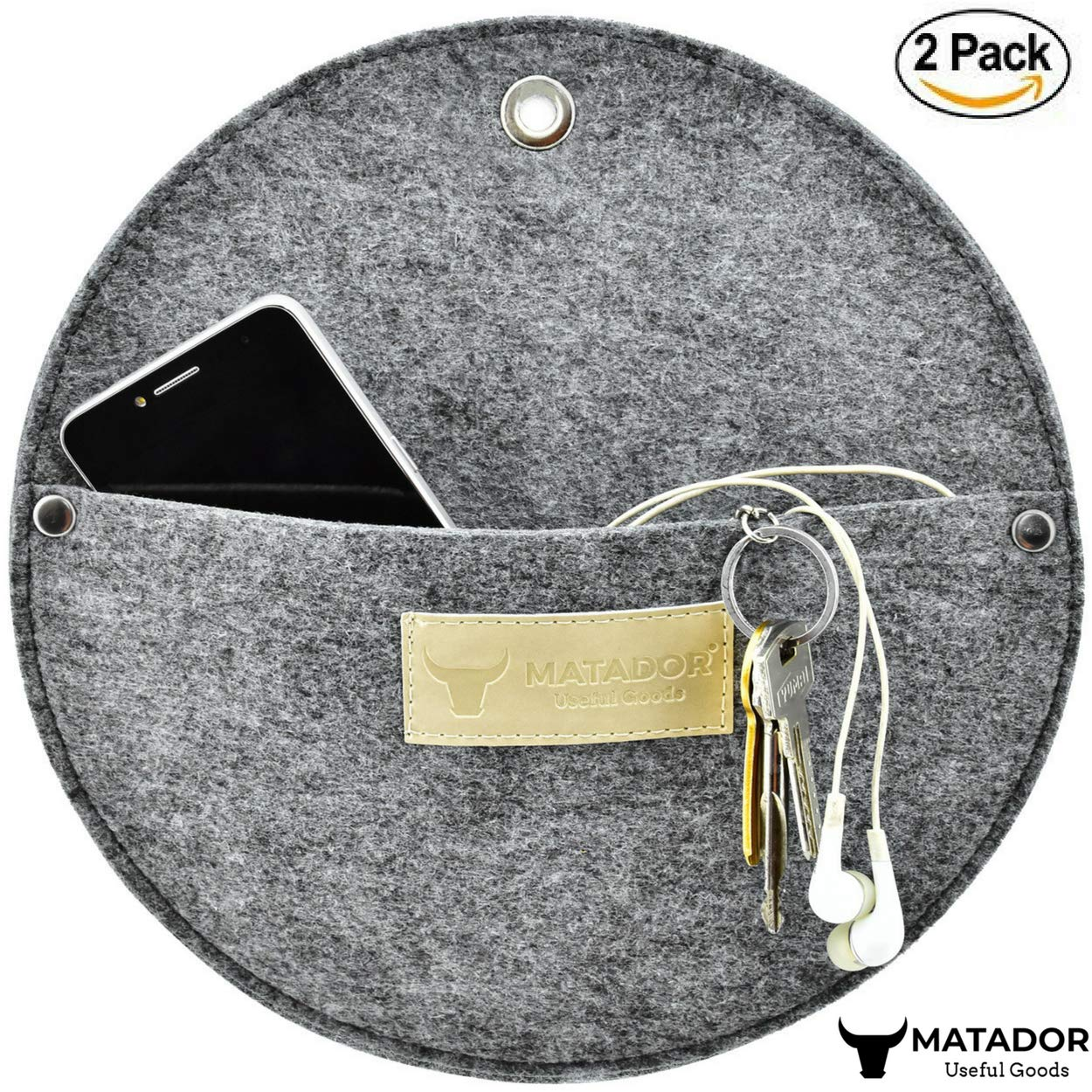 Matador Useful Goods   Wall Mount Key Holder for Entryway, Kitchen, Office   Mail Sorter, Letter Organizer, 10x10 inches (Pack of 2, Grey Felt)