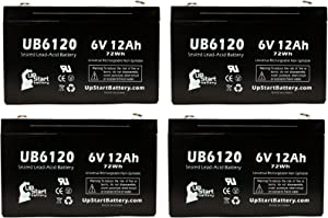 4 Pack Replacement for B&B BP10-6 Battery - Replacement UB6120 Universal Sealed Lead Acid Battery (6V, 12Ah, 12000mAh, F1 Terminal, AGM, SLA) - Includes 8 F1 to F2 Terminal Adapters
