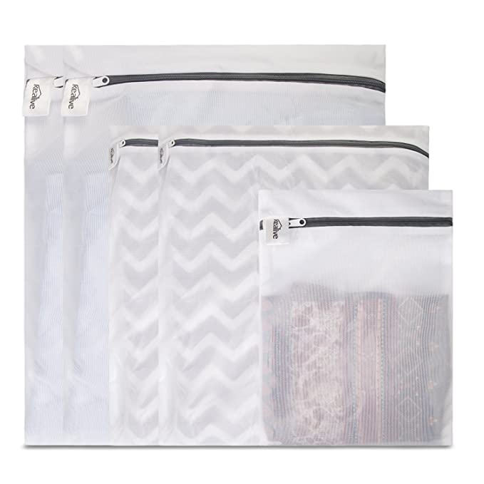 Kealive Laundry Bags, Mesh Wash Bags, Travel Laundry Bag(5pcs) - White Wash Bag with Zipper (2 Large, 2 Medium and 1 Small)