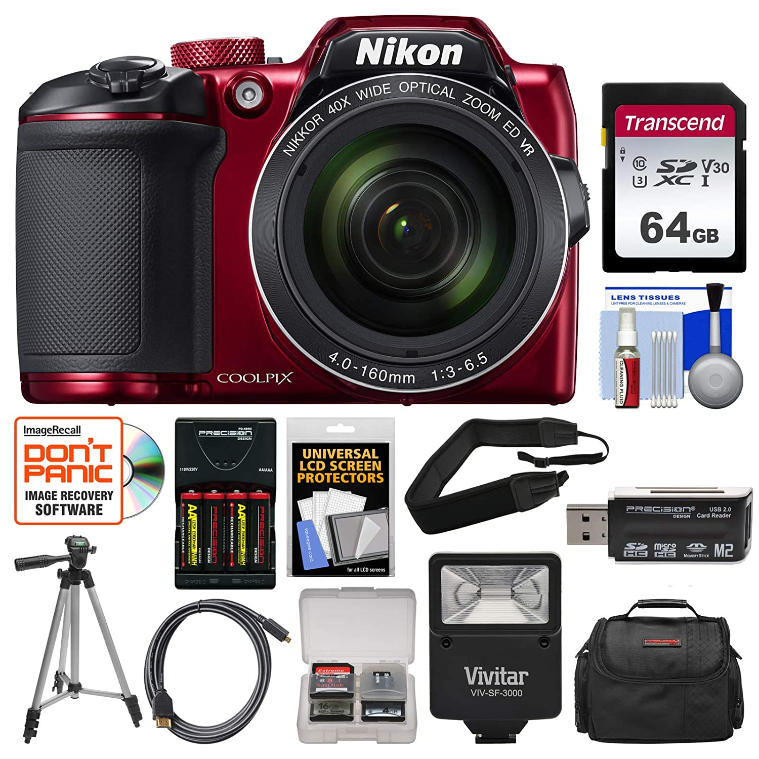 Nikon Coolpix B500 Wi-Fi Digital Camera (Red) with 64GB Card + Case + Flash + Batteries & Charger + Tripod + Strap + Kit