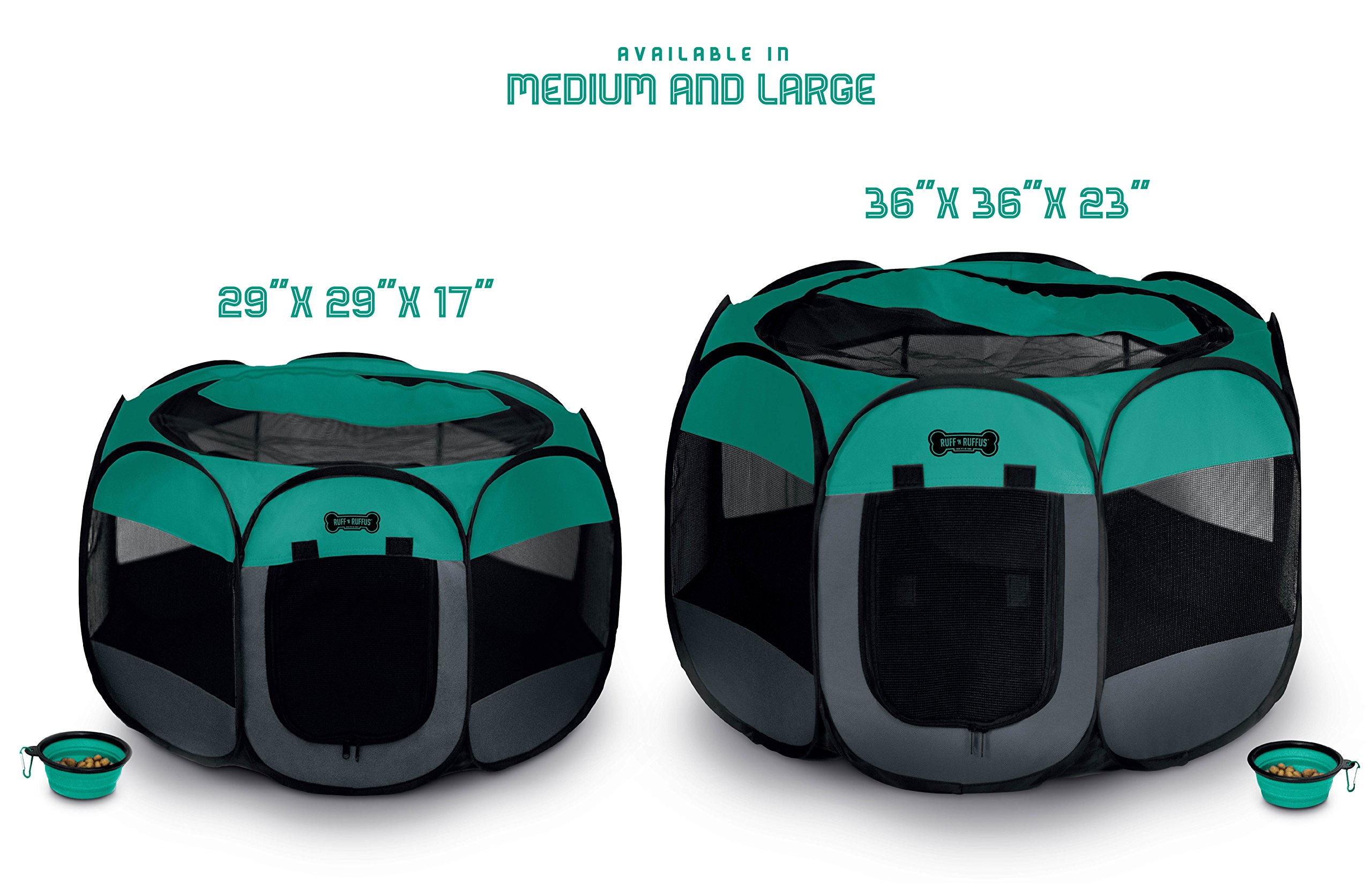 Ruff 'n Ruffus Portable Foldable Pet Playpen with Carrying Case & Collapsible Travel Bowl | Indoor / Outdoor use | Water resistant | Removable shade cover | Dogs / Cats / Rabbit | Available In 2 Sizes by Unleashed (Image #3)