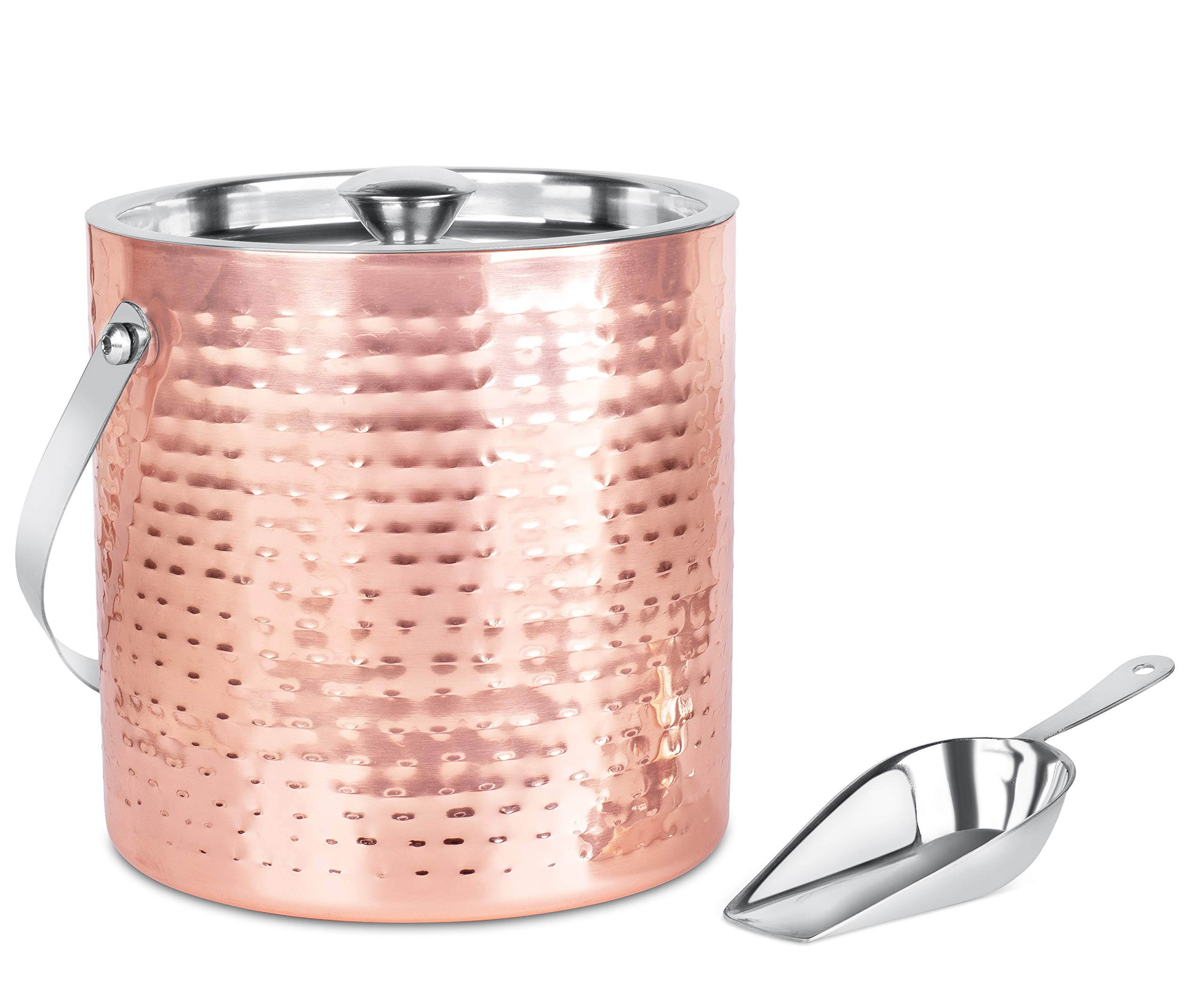 BirdRock Home Ice Bucket with Scoop & Lid | 2.8 Liter Hammered 18/8 Stainless Steel Container for Bar | Double Wall Insulated Bucket with Carrying Handle | Great for Parties | (Copper)