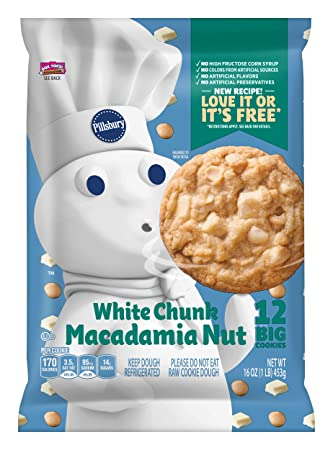 Pillsbury Ready To Bake Refrigerated Cookies Big Deluxe White Chunk Macadamia Nut 12 Count 16 0 Oz Pack