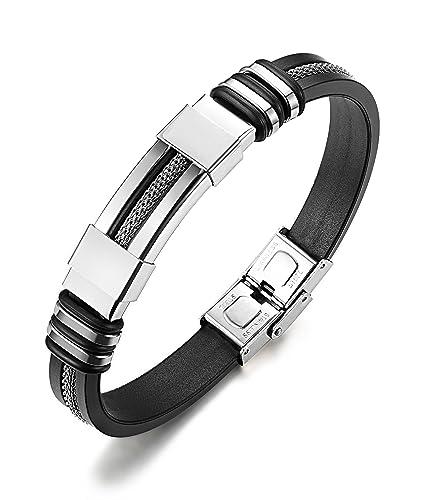 9ed0c5b497b sailimue Bijoux Acier Inoxydable Bracelet Homme Femme Silicone Bracelet  Noir pour Homme Garçon 21 cm