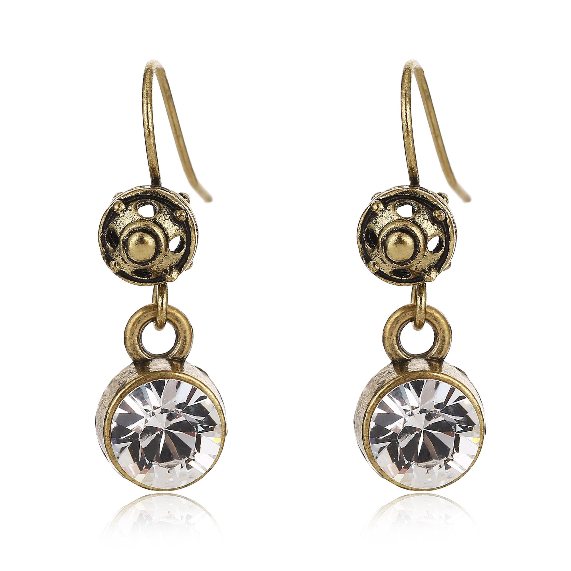 Tom+Alice Hand-made Antique Style 8mm Austria Imported Zircon Dangle Earrings for Women Eco-Copper Ear Hook