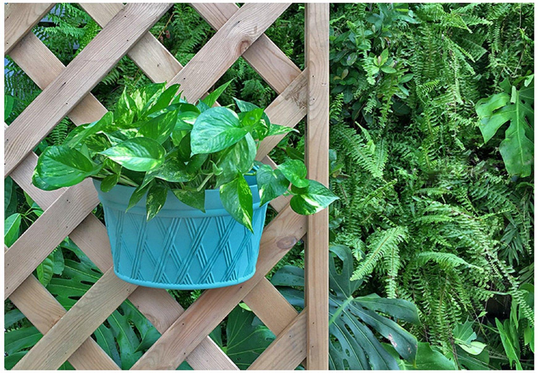 Mr. Garden Resin Plastic Wall Hanging planter Vertical Garden Plant Pot, 12x6.9x8.6Inch, Green, 2Pack