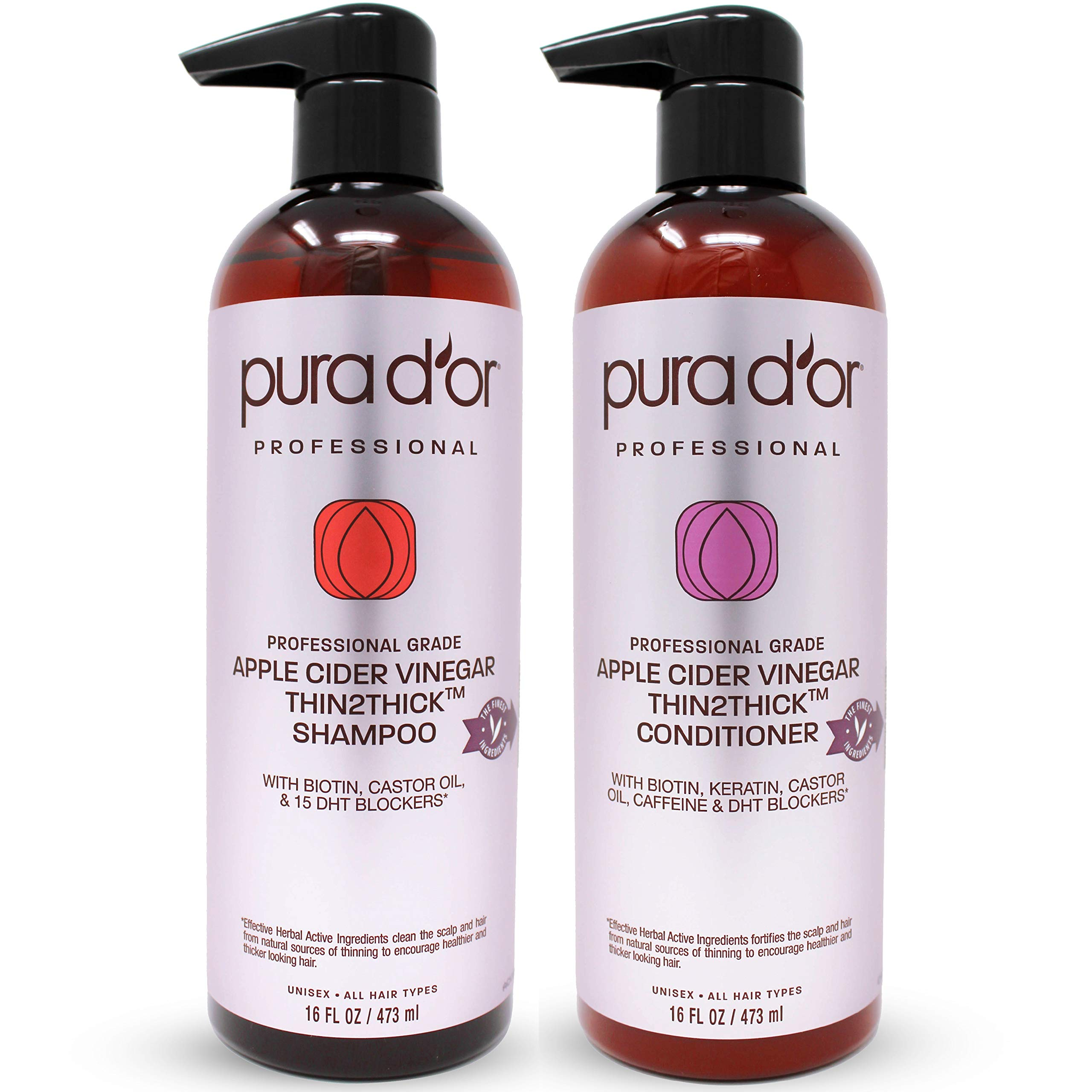 PURA D'OR Professional Grade Apple Cider Vinegar Thin2Thick Shampoo & Conditioner Set - Biotin, Keratin, Caffeine, Castor Oil - Sulfate Free, Natural Ingredients - All Hair Types, Men & Women by PURA D'OR