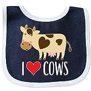 Inktastic - I Love Cows Dairy Farmer Baby Bib Navy/White 2b56d