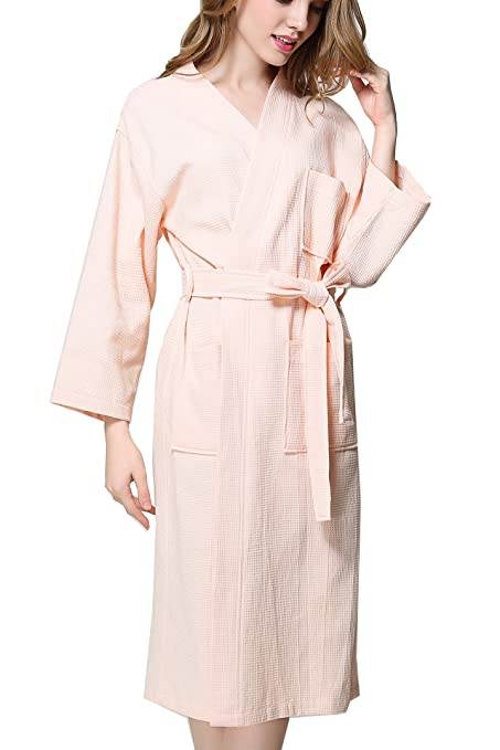 b74568cd49 Image Unavailable. Image not available for. Color  Women s Plus Size Long-Sleeve  Waffle Weave Spa Bathrobe ...