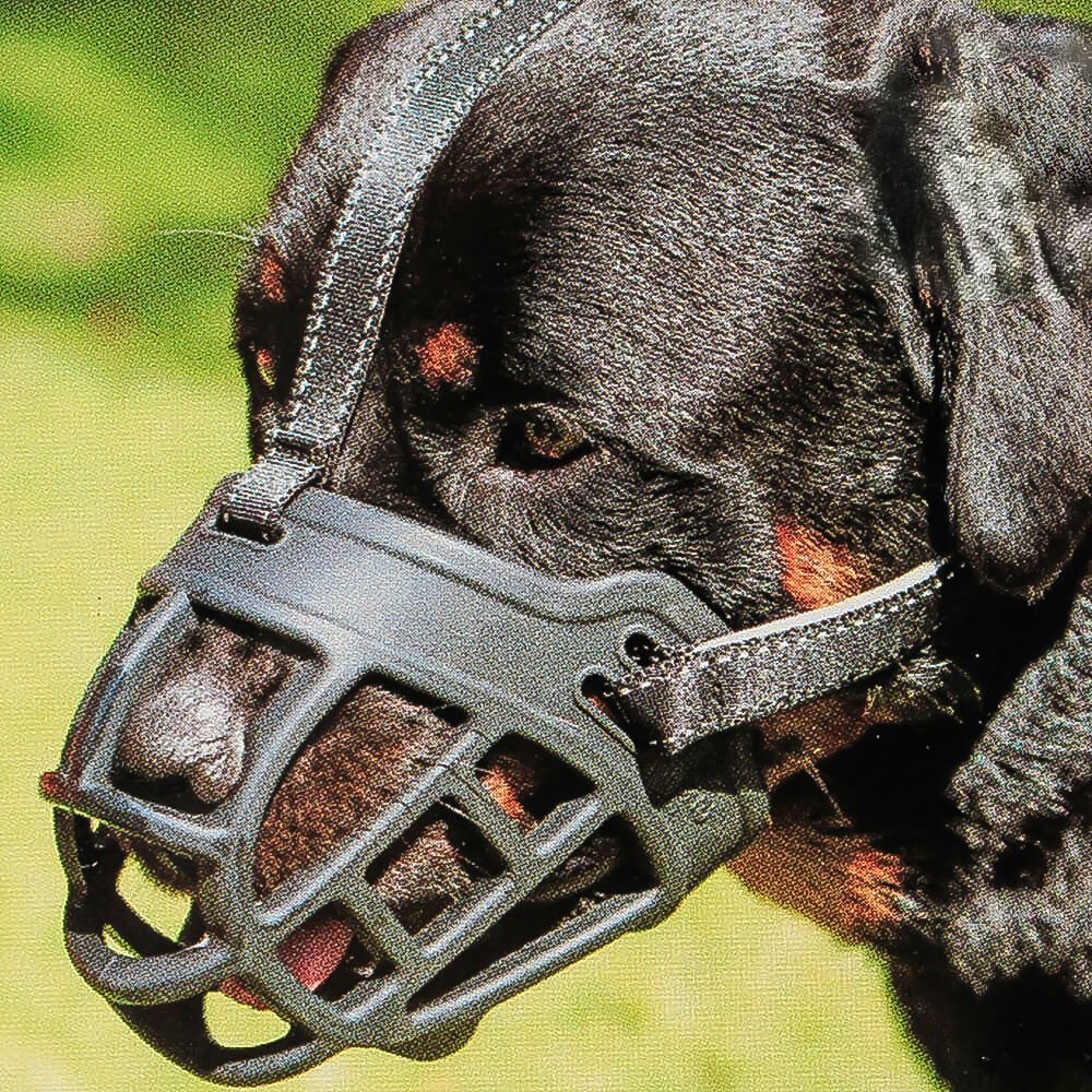 Dog Muzzle,Soft Basket Silicone Muzzles for Dog, Best to Prevent Biting, Chewing and Barking, Allows Drinking and Panting, Used with Collar (4 (Snout 12-13.5''), Black)