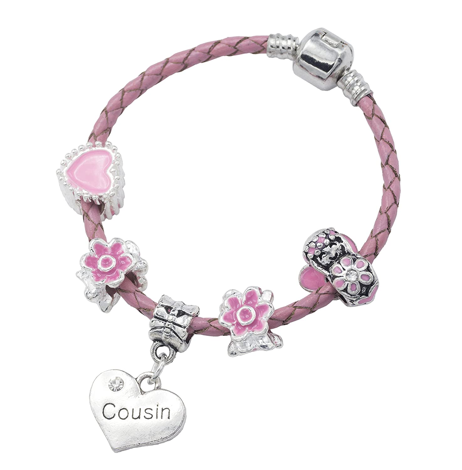 'Cousin' Pink Leather Charm Bracelet for Girls Presented in High Quality Gift Pouch Jewellery Hut BRPNKLTCOUSIN