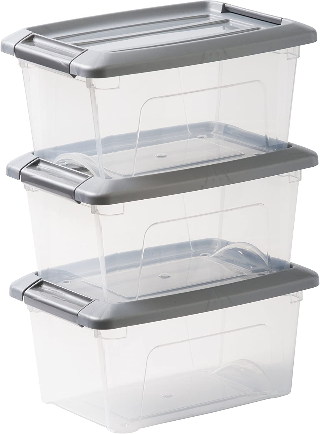 IRIS OHYAMA,3er-Set stackable storage boxes / boxes / stacking boxes, with snap closure, plastic, transparent lid, 5 L,