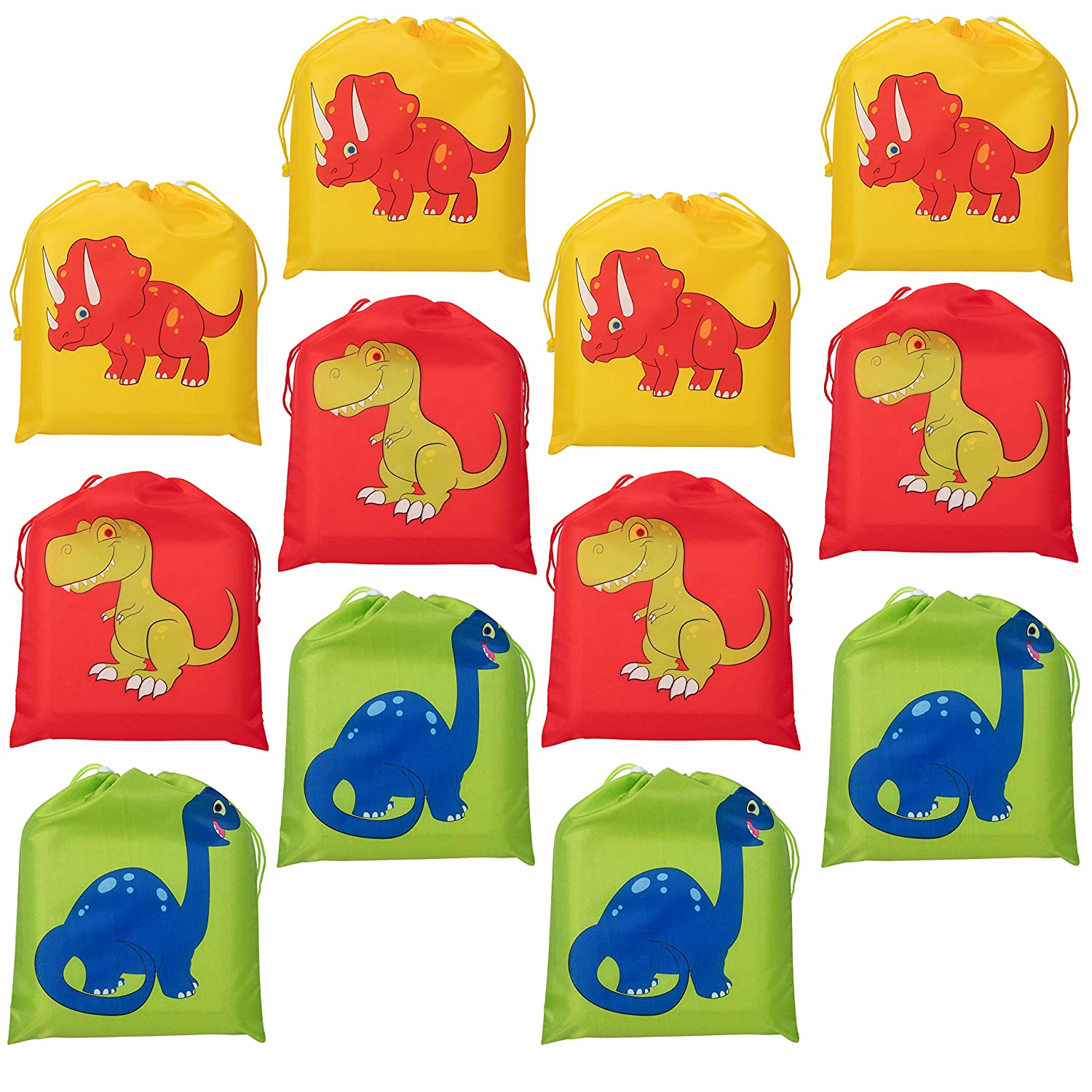 12-Pack Party Favor Bags for Kids Dinosaur Birthday 9.7 x 12 Inches Juvale Yellow 3 Assorted Designs Dino Themed Party Supplies Red For Giveaways and Gifts Green Drawstring Bags Goodie Treat Bags