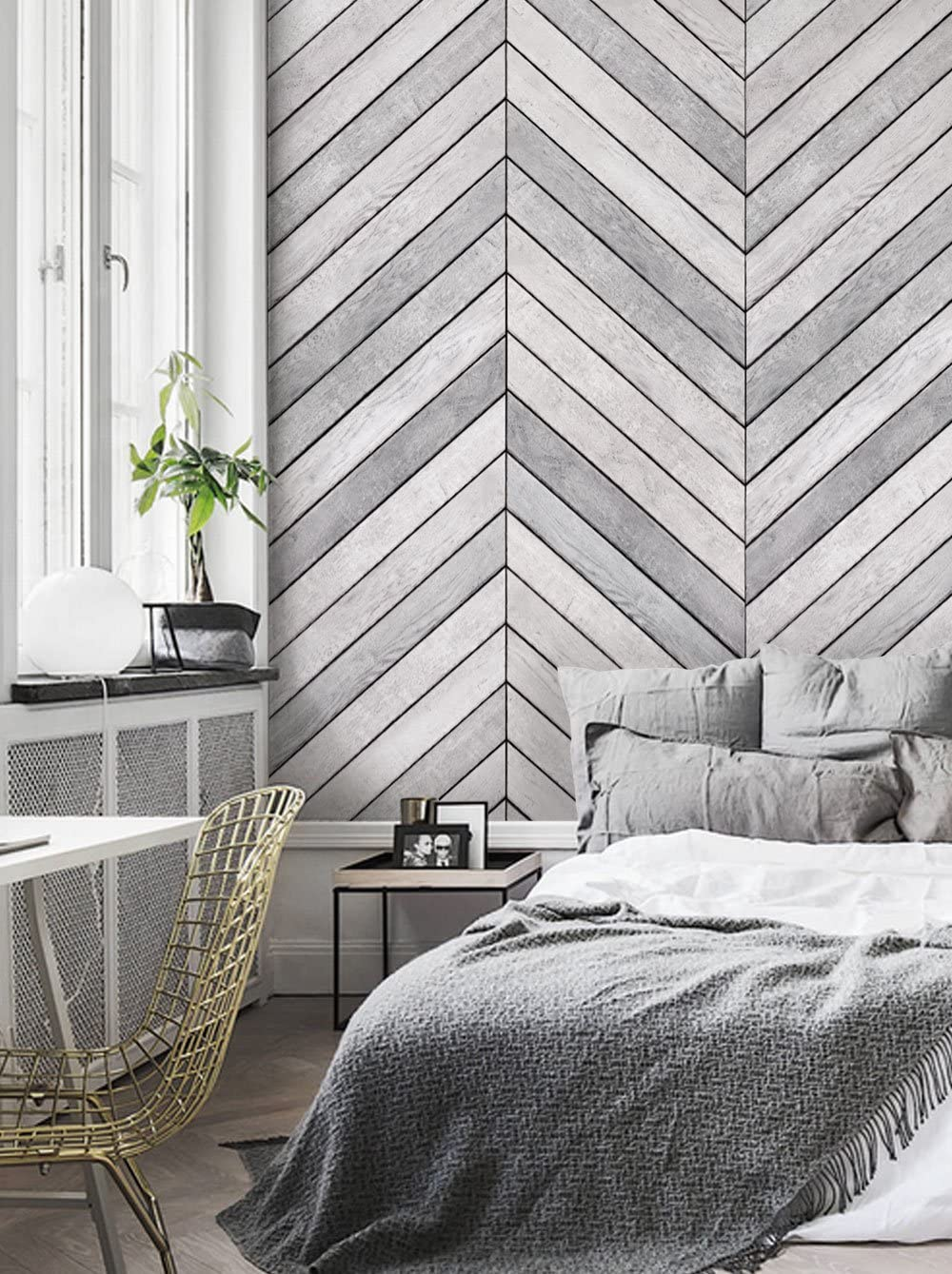 Chevron Grey White Wood Accent Mural Wall Art Wallpaper Peel And Stick By Simple Shapes 2 Sheet Pack 2ft X 8ft