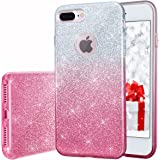 Milprox te01 Bling Luxury Glitter Pretty Cute Premium 3 Layer Hybrid Anti-Slick/Protective/Soft Slim Thin TPU unique Case for Girls/Women for iPhone 7 Plus - Pink Silver